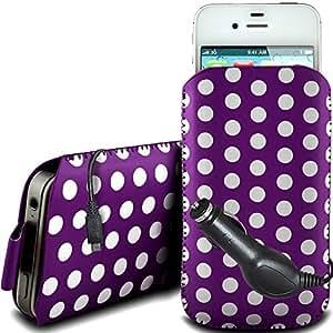 Direct-2-Your-Door - Nokia Asha 200 PU protector Polka de cuero con cremallera diseño antideslizante de cordón en la bolsa del caso con cierre rápido y CE Cargador de coche - Purple