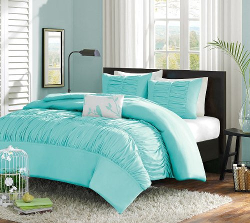 Turquoise blue aqua girls twin comforter set 3 piece bed in a bag top bargain kids bedding - Blue beds for girls ...