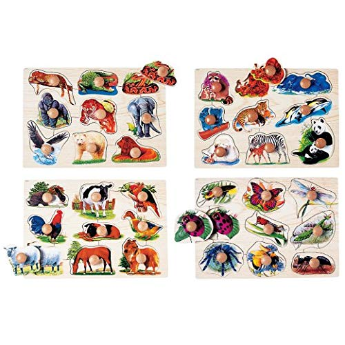 Constructive Playthings 9 Piece 14 3/4'' L. x 10 1/2'' W. x 1/2'' Thick Jumbo Wood Knob See-Inside Puzzle Set of 4 Including Animal Friends, Mothers & Babies, Wild Animals and Insects for Ages 18 Months+ by Constructive Playthings