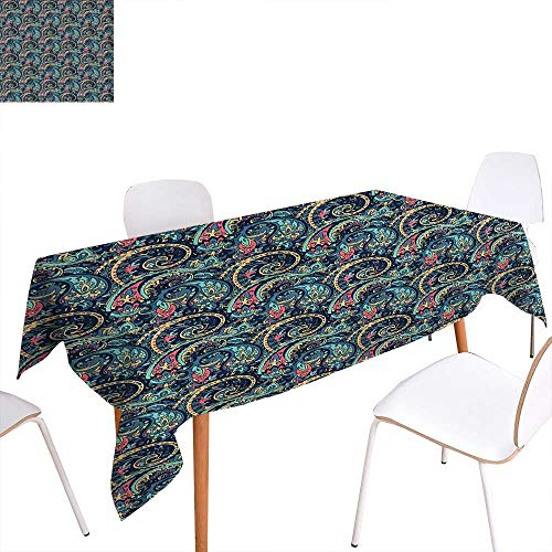 familytaste Paisley Customized Tablecloth Unusual Boteh Revival Themed Tribal Pattern in Vibrant Tones Image Stain Resistant Wrinkle Tablecloth 60