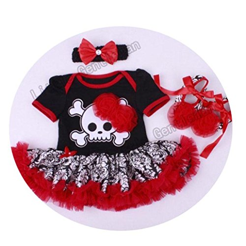 Halloween Pumpkin Romper Dress Jumpersuit+Headband+Shoes 3pcs Suit Bebe