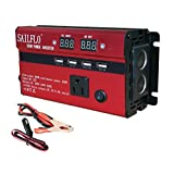 SAILFLO 500W/1000W/2000W Peak Power Inverter DC 12V to AC 110V Car Adapter with 5A 4 USB Charging Ports (500W)