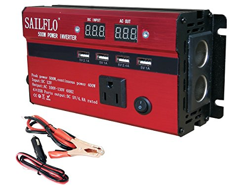 SAILFLO Power Inverter 500W Peak DC 12V to AC 110V Car Adapter with 4 USB Charging Ports 5A (500W)