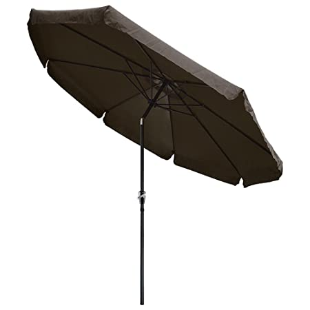 Yescom 10 ft Aluminum Outdoor Patio Umbrella w Valance Crank Tilt for Deck Market Yard Beach Pool Cafe Chocolate