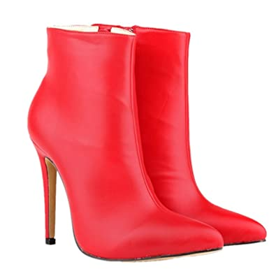 LOVEBEAUTY Womens Sexy Pointed Toe Stiletto High Heel Ankle Boots  Q3BQB1YK3