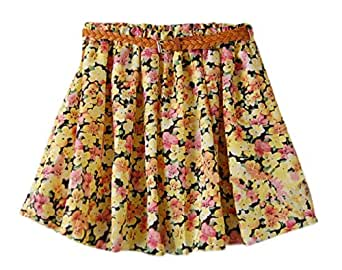 AM CLOTHES Womens Floral Skater Skirt with Belt One Size Peach Yellow