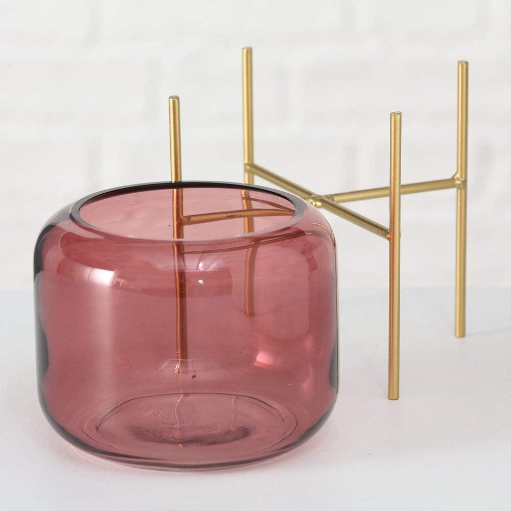 Windlicht Leona 2tlg 2s D15cm rosa Glas lackiert