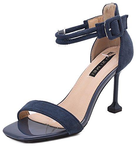 Attachée Talon Femme Bleu Haut à 9cm Simple Aisun Chaussures Sandales U0SI7