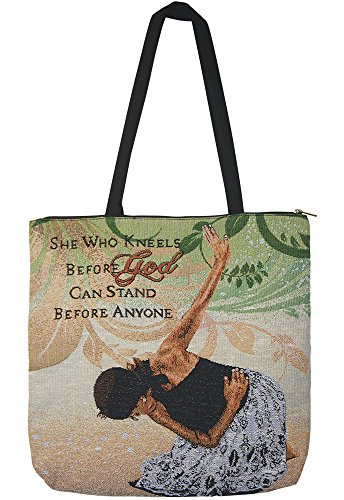 African American Expressions - She Who Kneels Woven Tote Bag (Cotton Blend, 17