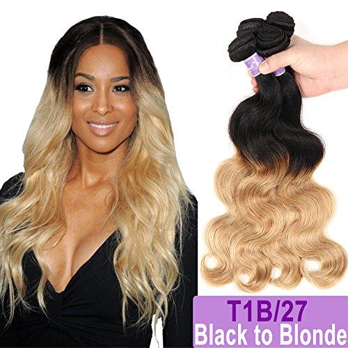 Ombre Brazilian Hair Body Wave Bundles 3pcs, Ombre Brazilian Virgin Hair Human Hair Weave Two Tone Black to Blonde (T1B/27,16