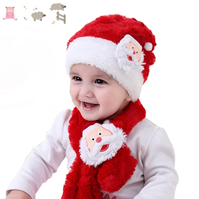 Amazon.com  UNIKbrush Baby Christmas Hat and Scarf Set Cute Warm ... 6a35a099bcf