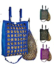 Majestic Ally Slow Feed Nylon Hay Bag for Horses, Adjustable Travel Feeder for Trailer and Stall, Feeding Sack with Strap Support, Simulates Grazing, Reduces Waste Comes with Hay Net