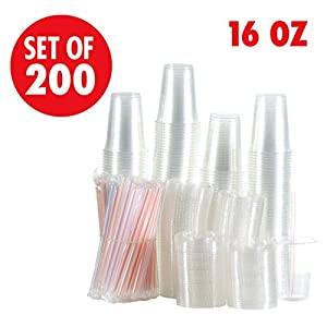 Set of 200 16oz Clear Plastic Cups with Flat Lids, Smoothie Wide Large Straw, Cold Smoothie Iced Coffee Cup with Lids, Great for Cocktail, Juice, Teas, Clear Frozen Drink Beverage (16oz, Flat)