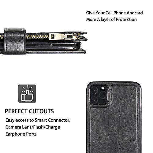 HOPRME iPhone X XS Wallet Case 2020 Leather Zipper Detachable Shockproof Magnetic Kickstand Credit Card Cash Slots Phone Flip Protective Holster Cover