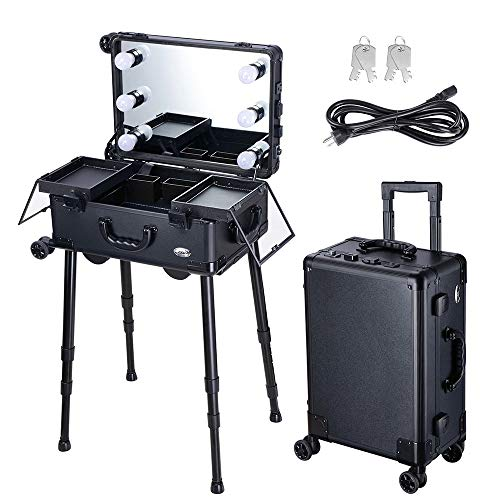 AW Large Rolling Makeup Case w LED Light Mirror Adjustable Legs Lockable Train Table Studio Artist Cosmetic 12x8x20""