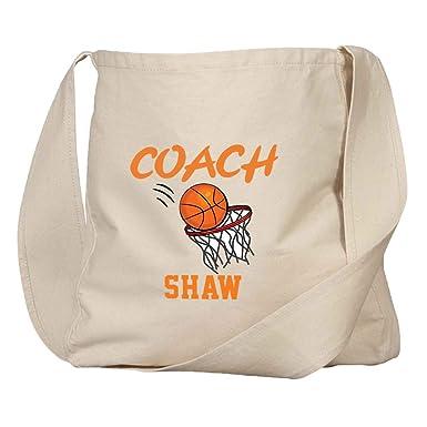 50e5fea2a589 Amazon.com  Personalized Custom Text Basketball Coach Organic Cotton Market  Bag Tote  Clothing
