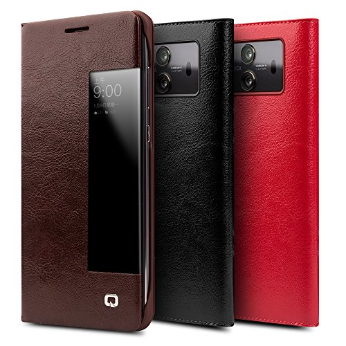 brand new fa849 fce25 Huawei Mate 10 Case, QIALINO Slim Folio Textured Genuine Leather Mate 10  Smart Cover (with Smart View Window and Auto Screen