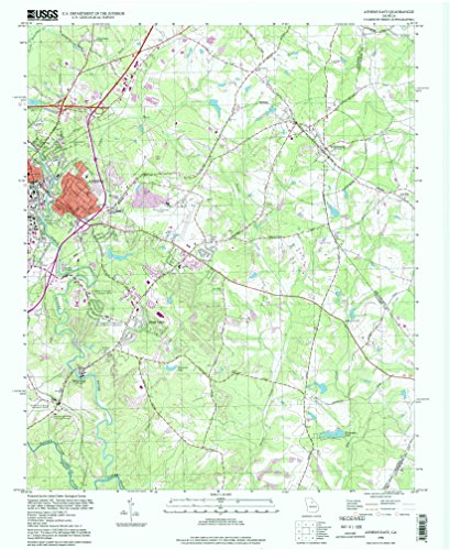 Athens East GA topo map, 1:24000 scale, 7.5 X 7.5 Minute, Historical, 1998, updated 1999, 26.9 x 22 IN - Paper (Athens Clarke County Ga)