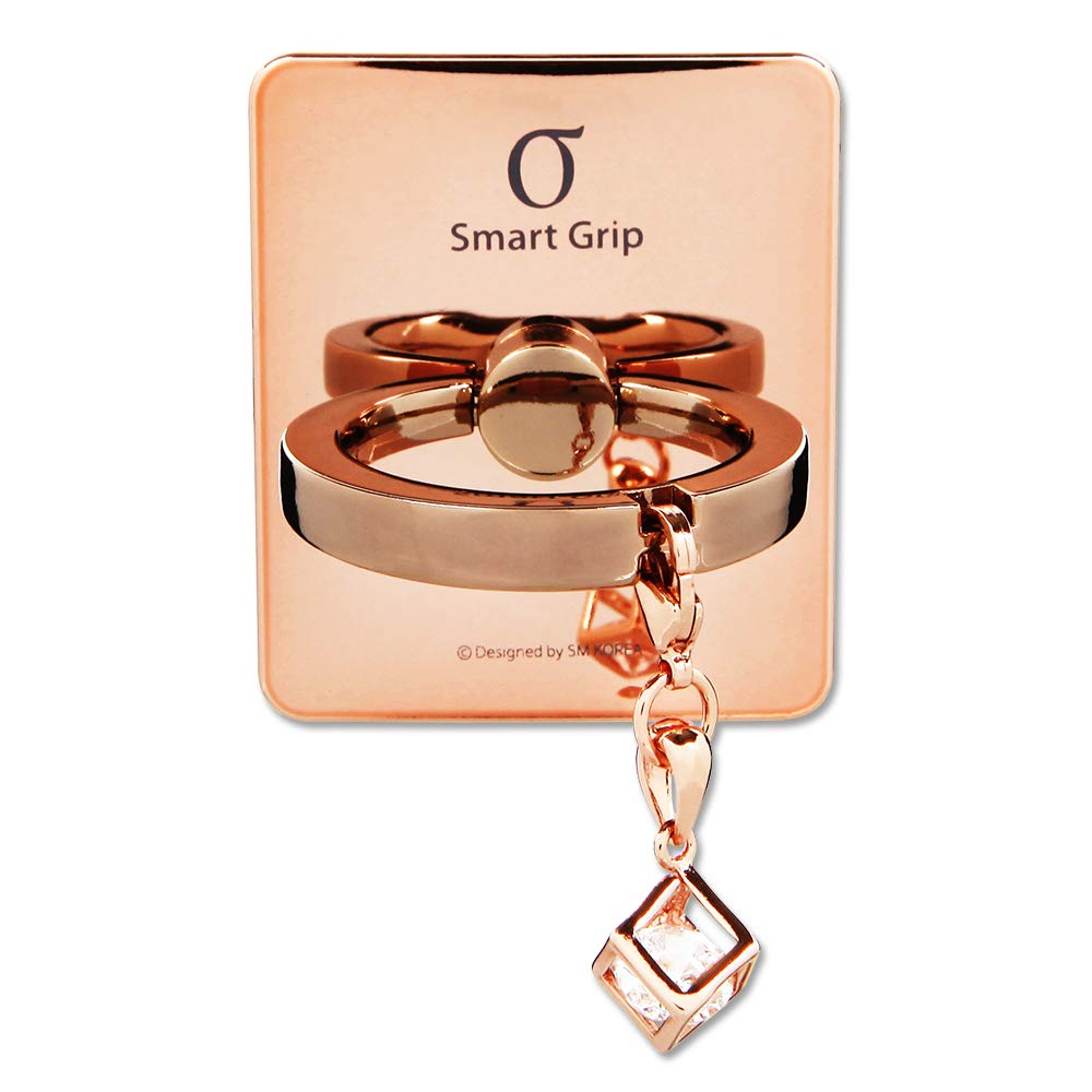 Smatixx Luxury Finger Ring Grip with Genuine Swarovski Oktant Stone Universal Kickstand for iPhone Xs Xr Samsung Galaxy S10 S10 Plus Note 10, 10 Plus Pixel 3 XL and More | Brody (Cube - Rose Gold) by SMATIXX
