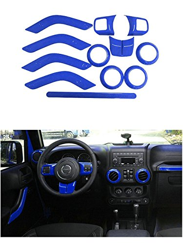 Opall Full Set Interior Decoration Trim Kit Steering Wheel & Center Console Air Outlet Trim, Door Handle Cover Inner, Passenger Seat Handle Trim For Jeep Wrangler JK JKU 2011-2018 4-Door (12PCS Blue)