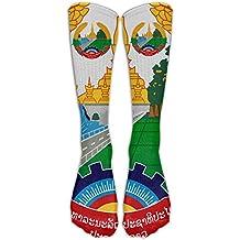 Laos Lron Rice Badge Flag Crew Sock Long Socks Sports Socks For Travel Leisure For Women And Men - Best Travel & Flight Socks - Running & Fitness.