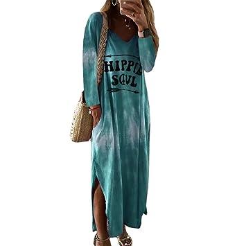 SMILEQ Vestido de Mujer Moda Hippie Soul Falda con Estampado de ...
