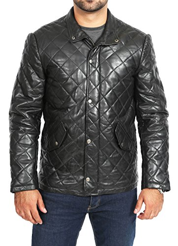 - A1 FASHION GOODS Mens Quilted Leather Jacket Black Hip Length Fitted Zip up Reefer Car Coat Grover (Medium)