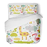 SanChic Duvet Cover Set Africa Baby Jungle Animals on White Bird Cartoon Character Child Decorative Bedding Set 2 Pillow Shams King Size