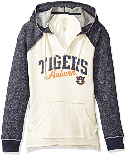 NCAA Auburn Tigers Women's French Terry Hoodie, Bone/Marled Navy, Medium (Blue Auburn Jersey)
