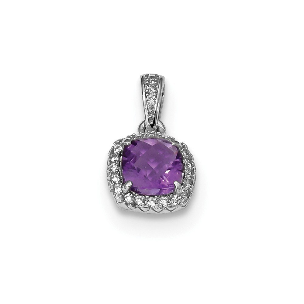 Sterling Silver Rhodium-plate .86Amethyst//Created Sapphire Pendant Solid 8.8 mm 14.5 mm Fancy Pendants /& Charms Jewelry
