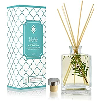 Luxe Home Alpine Balsam Fir Holiday Reed Diffuser Oil Sticks Set | Christmas Tree Scent with Evergreen, Pine & Woodsy Notes | Festive Christmas Decor Makes a Great Gift Idea