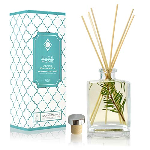 Luxe Home Alpine Balsam Fir Holiday Reed Diffuser Oil Sticks Set | Christmas Tree Scent with Evergreen, Pine & Woodsy Notes | Festive Christmas Decor Makes a Great Gift Idea Balsam Pine Scent Oil