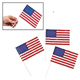 "Patriotic Plastic American 6"" x 4"" Flags (72 Pack) 4th of July Independance Day"