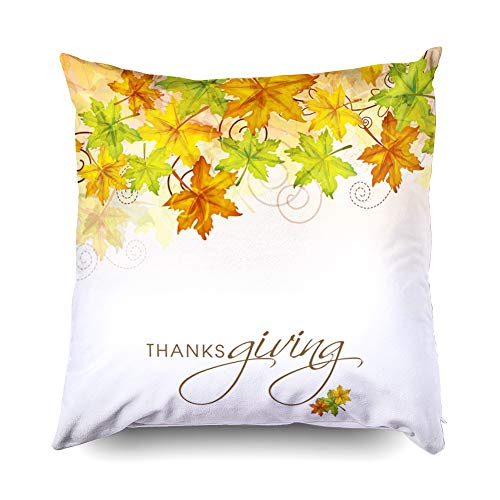 (TOMWISH Hidden Zippered Pillowcase Christmas maples Leaves Decorated Poster Banner Flyer 18X18Inch,Decorative Throw Custom Cotton Pillow Case Cushion Cover for Home Sofas,Bedrooms,Offices,and More )