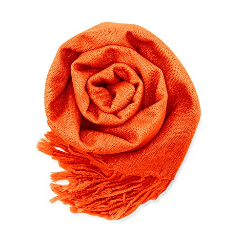 (Soft Pashmina Scarf for Women Shawl Wrap Scarves Lady Women's Scarfs in Solid Colors - Orange)
