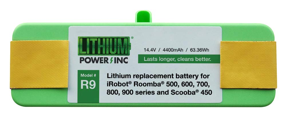 Lithium Roomba Replacement Battery For iRobot Roomba 980, 960, 890, 690, 614, 900, 800, 700, 600, 500 Series and Scooba 450, 4400mAh - UL& CE Certified Battery Pack Lithium Power Inc R9