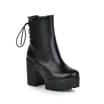 Ladies Bandage Chunky Heels Platform Imitated Leather Boots