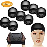 CODOHI 10 Packs Dome Wig Cap for Men Women All Round Stretchy Spandex Full Wig Cap, Weaving Mesh - Black