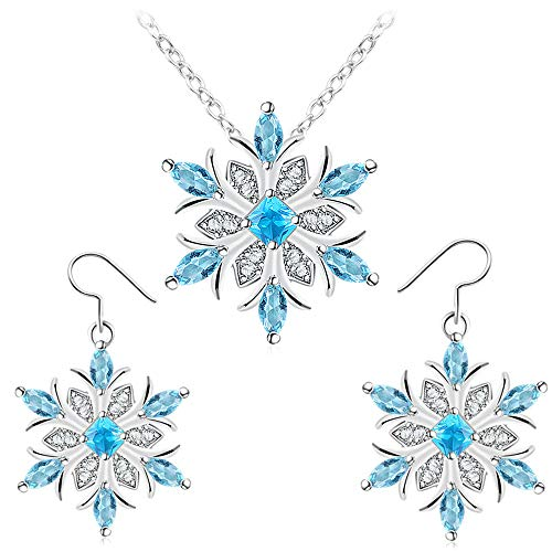 Houlife Christmas Winter Snowflake Flower Pendant Necklace Xmas Drop Dangle Hook Earrings Platinum Plated Copper Clear Blue Glass Beads Inlaid Jewelry for Girls Women Kids (Jewelry Set+Box)