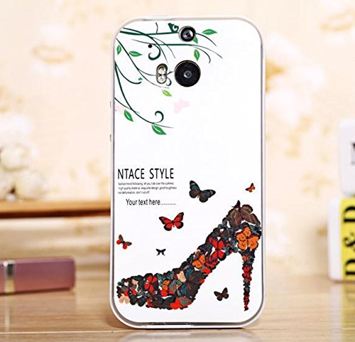 Big Mango Young and Fashion Series Cute Premium Hybrid Protective Bumper Case Back Cover for HTC One M8 - Floral High Heel Shoe