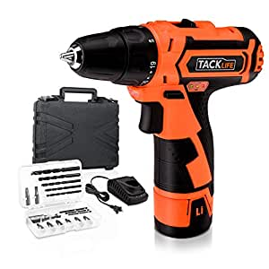 Tacklife PCD02B 12V Lithium-Ion Cordless Drill/Driver 3/8-Inch Chuck Max Torque 220 In-lbs, 2 Speed, 1 Hour Fast Charger, 19+1 Position with LED, 17pcs Drill/Driver Bits Included