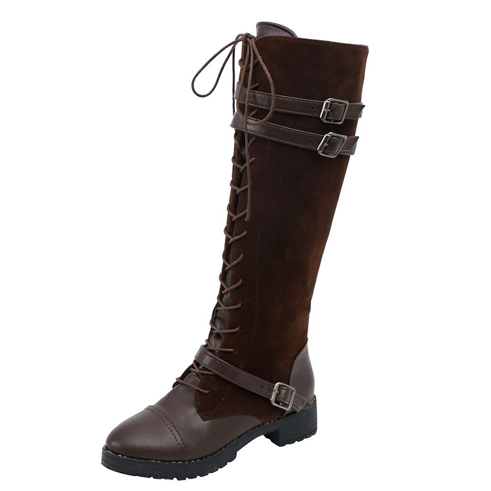 Clearance for Shoes,AIMTOPPY Women's Suede Stitching Straps and Knee Denim Boots
