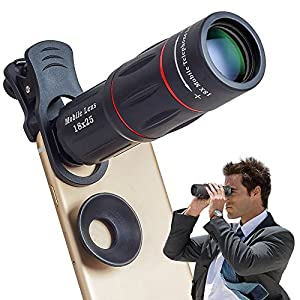 APEXEL Cell Phone Lens Universal 18X Optical Zoom Lens Manual Telescope Lens with Clamp for iPhone Samsung and most Android Smartphones