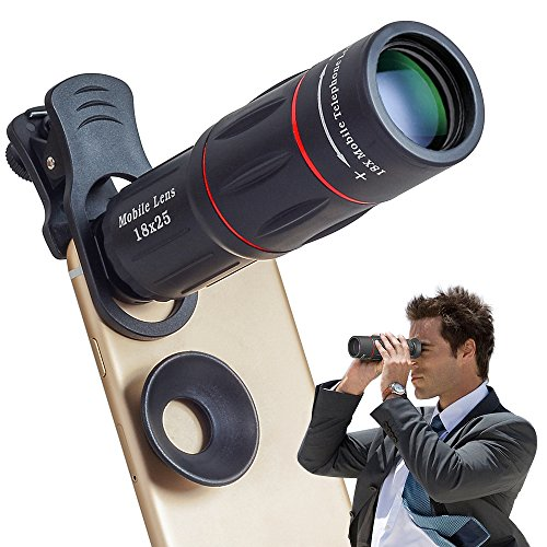 Apexel Universal 18X Optical Camera Mobile Zoom Lens Manual Telescope Lens with Clamp for iPhone X/8 7/6S/6 Plus/5/4 Samsung and most Android Smartphones