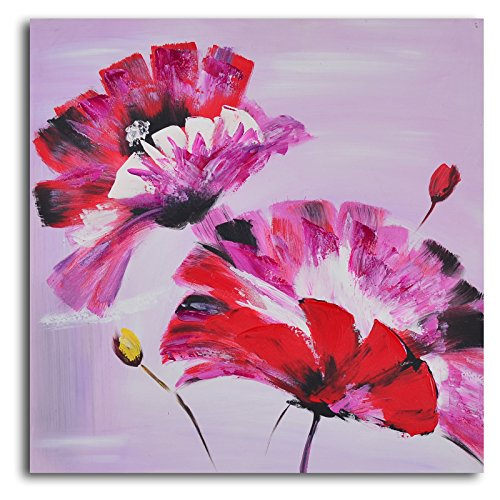 TJie Art Hand Painted Mordern Oil Paintings Frenzy of Fuschia Florals 3-Piece Canvas Wall Art Set Vibrantly colored modern artwork in floral theme,Acrylic-on-canvas painting comes gallery wrapped,Stretched on one inch-thick wooden frames