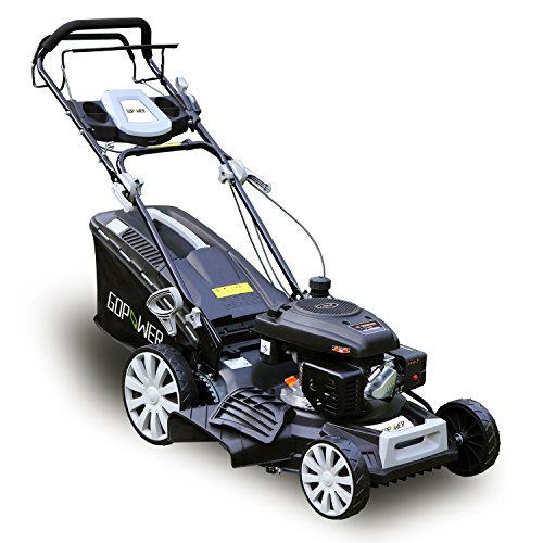 GDPOWER 161cc 4-in-1 Self-Propelled Gas Lawn Mower 20-Inch Deck Recoil Start System, OHV Engine, Rear Bag/Side Discharge/Mulch/Bag, 11-inch High Wheels, Black (20
