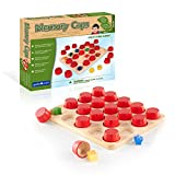 Guidecraft Memory Caps Kids Educational Toy - Colorful Wooden Hide and Reveal Matching Shapes Game for Toddlers
