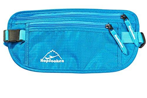 HOPSOOKEN Travel Money Belt: Waist Pack for Running and Cycling, Rfid, Comfortable, Durable and Lightweight Hidden Travel Passport Wallets. (Blue)