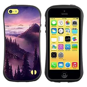 """Hypernova Slim Fit Dual Barniz Protector Caso Case Funda Para Apple iPhone 5C [Puesta de sol salida del sol Montañas Árboles""""]"""