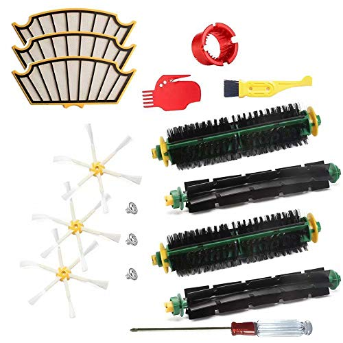 JUMBO FILTER Vacuum Accessories Kit for iRobot Roomba 500 Series 510 530 540 550 560 Flexible Beater Brush Bristle Brush Side Brush Filter Cleaning Tool Replacement Vacuum Parts 13Pcs